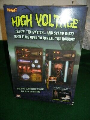 ANIMATED HIGH VOLTAGE LIGHTED ELECTRIC BOX HALLOWEEN RARE