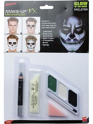 Halloween Skeleton Make up Face Paint Glow in The Dark Kit Costume Accessory Smi