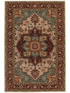 100% Wool Classic Geometric Hand Tufted 5x8 Heriz Oriental Area Rug Carpet  New