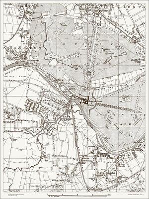 East Moulsey, Hampton Court Map 1888 Gtr London #43