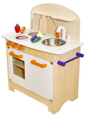 Kinderküche aus Holz Spielküche Küche Kinder Spielzeug Holzküche weiß orange NEU - 2