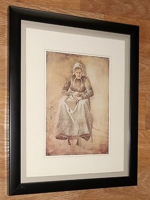 Van Gogh framed wall art - 8''x10'', Grinding Coffee art card print 1976