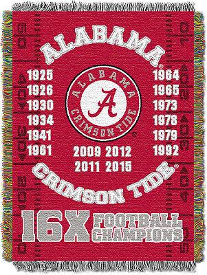 "Alabama Commemorative NCAA 48""x60"" Woven Tapestry Throw Blanket"