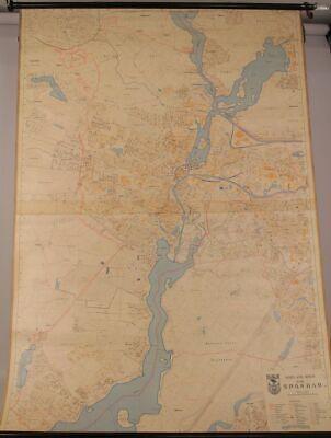 Schulwandkarte Role Map Wall Chart Berlin District Spandau 1:10000 1970 Wall Map