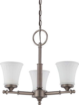 Nuvo 60/4016 Teller 3 Light Aged Pewter And Frosted Etched Glass Chandelier