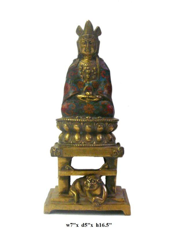 Chinese Metal Blue Enamel cloisonne Sitting Kwan Yin Statue cs070