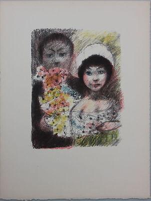 Edouard Goerg (1893-1969) - Brautpaar mit Blumen kolorierte Lithographie