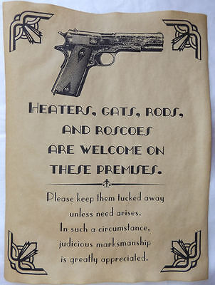 Firearms Welcome on Premises Poster Sign Prohibition, Gangster, Art Deco, wanted