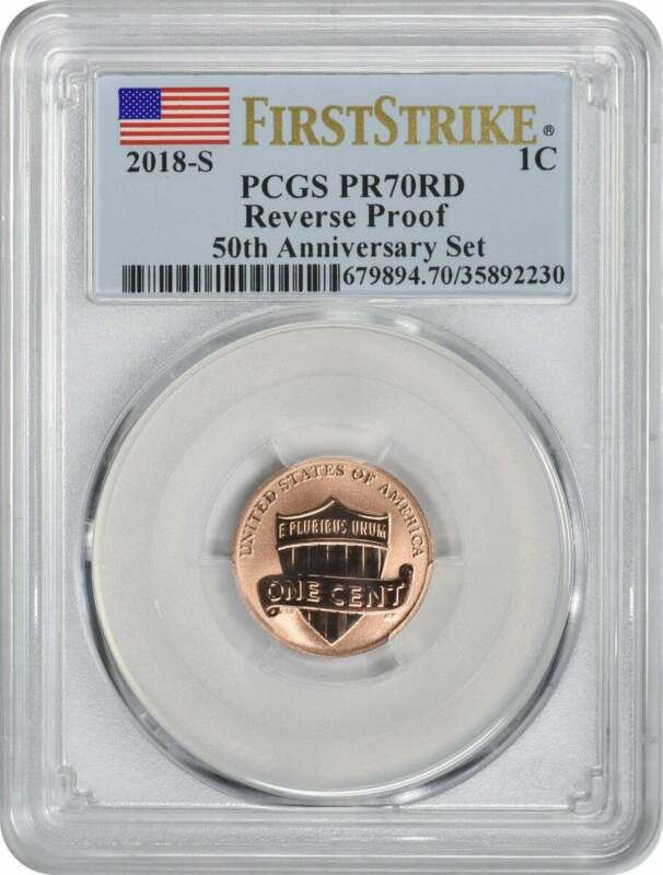 2018-S Lincoln Cent Reverse Proof PR70RD PCGS First Strike Flag Label