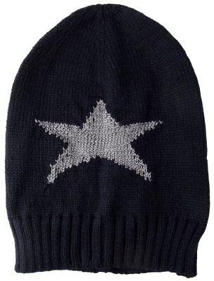 Eine Stricken Mütze (TigerTie Strickmütze in schwarzblau mit einen Stern Motiv in der Farbe Silber)