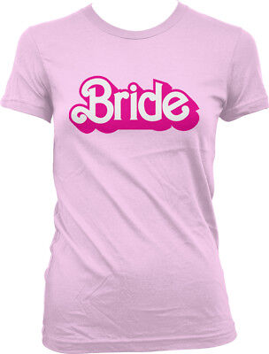 Dolls Pink Striped T-shirt (Bride Pink Letters Doll Toy Wedding To Be Married Bachelorette Juniors T-Shirt )