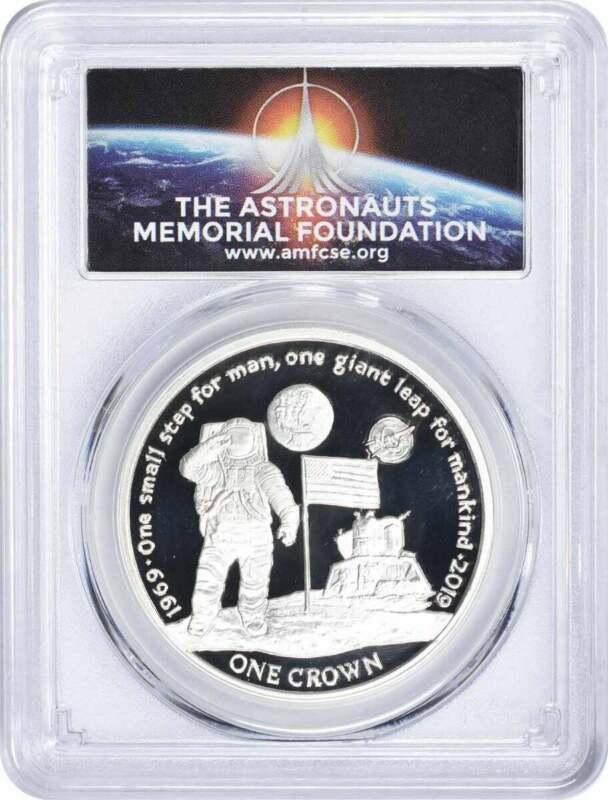 2019 One Crown Ascension Island Pobjoy Apollo First Man Silver PR69DCAM FS PCGS