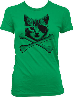 Kitten Pirate Cat With Eye Patch Crossbones Kitty Furball Meme Juniors T-shirt