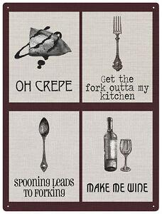 Oh crepe contemporary kitchen cooking metal wall sign - Plaque d aluminium pour cuisine ...
