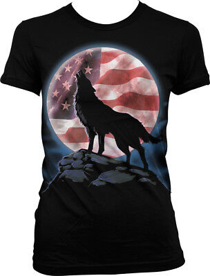 Full Moon Juniors T-shirt - Wolf with Full Moon, American Flag in Moon, Wilderness Junior's T-shirt
