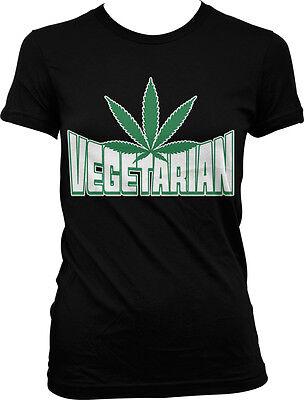Vegetarian Marijuana Leaf - Pot Smoke Green Funny Sayings Juniors T-shirt - Green Sayings