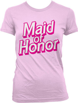 Dolls Pink Striped T-shirt (Maid Of Honor Pink Letters Doll Toy Wedding Married Bachelorette Juniors T-Shirt )