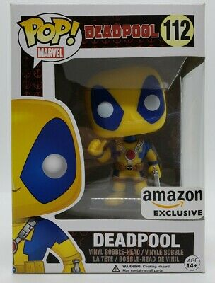 Funko Pop! Marvel Amazon Exclusive Yellow Deadpool w/ Pop Protector
