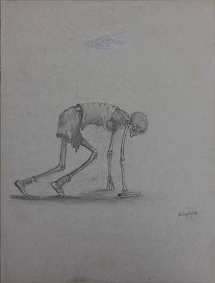 Stafettenläufer skurrile Bleistiftzeichnung