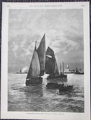 Normännische Fischerbarken Ficherboote Normannen HOLZSTICH von 1885