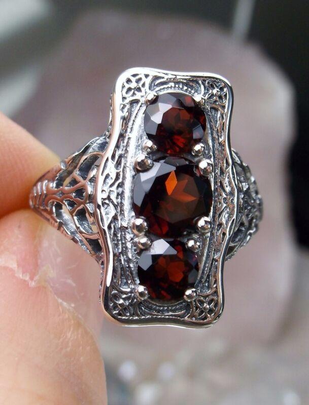 Natural Red Garnet Sterling Silver Edwardian Filigree Ring Size {Made To Order}
