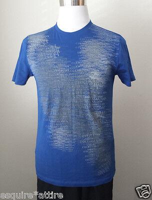 VERSACE Men Size M Blue Graphic Cotton T-Shirt