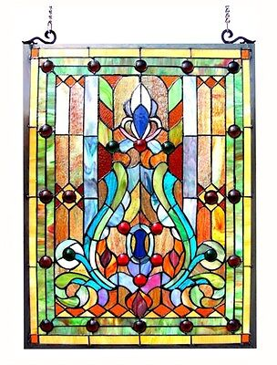 """Tiffany Style Stained Glass Victorian Window Panel 19 X 24.75"""" Handcrafted New"""