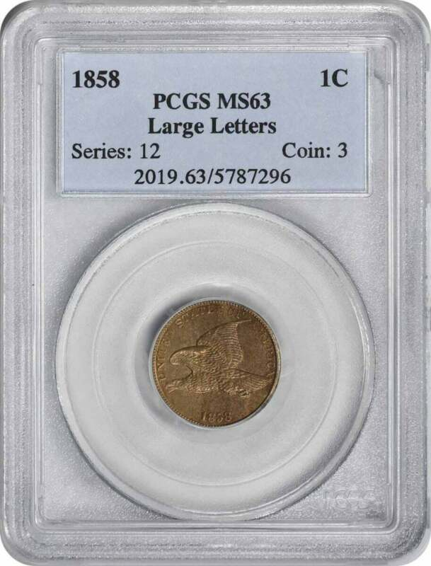 1858 Flying Eagle Large Letters Cent MS63 PCGS