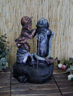 Hydrant Boy LED Water Fountain Garden Water Feature Indoor Outdoor Statue Lights