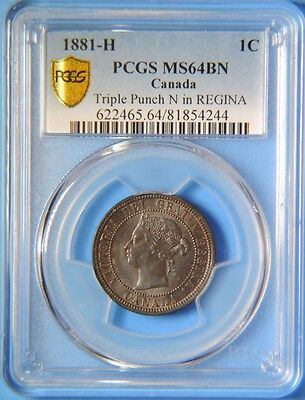 Click now to see the BUY IT NOW Price! 1881 H CANADA TRIPLE PUNCH N IN REGINA LARGE ONE CENT VICTORIA COIN PCGS MS64