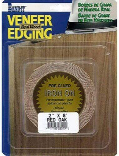 "Band-It 34210 Red Oak Veneer Edging, Pre-Glued, Iron On 2"" x 8"