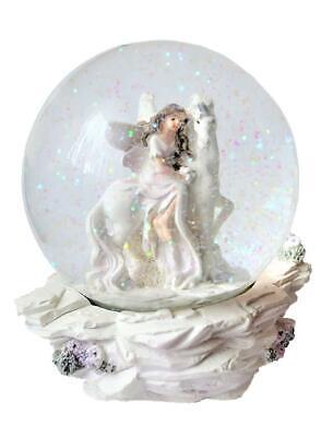 Schneekugel Elfe sitzt auf Einhorn in Glaskugel Glimmerkugel Traum Kugel