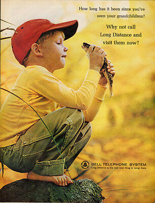 1964 Vintage Ad For Bell Telephone System Little Boy Holding A Fish Red Cap