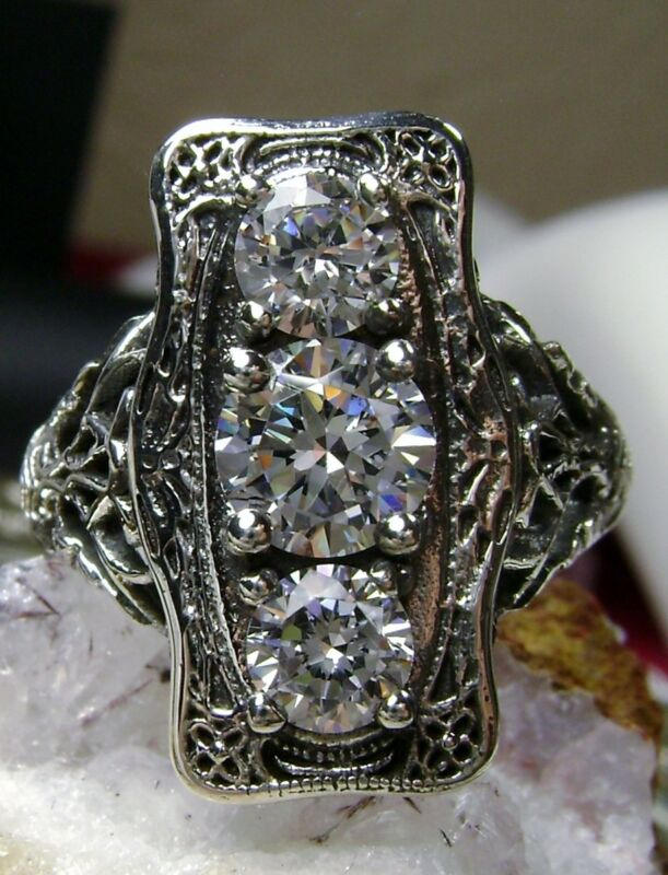 White Gem Sterling Silver Edwardian/Art Deco Filigree Ring Size {Made To Order}