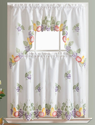 READY IN US 3pcs Kitchen curtain set, spray painted of FRUITS COMBO