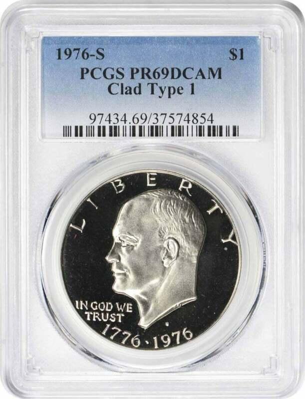 1976-S Type 1 Clad Eisenhower Ike Dollar PR69DCAM PCGS Proof 69 Deep Cameo