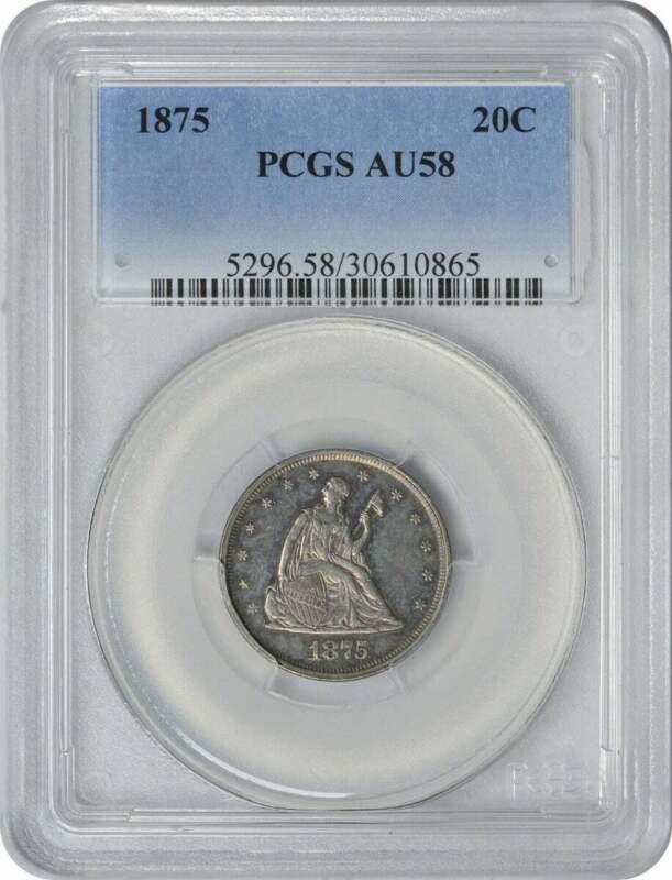 1875 Twenty Cent Piece, AU58, PCGS