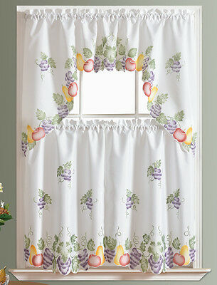 DISPLAY SAMP 3pcs Kitchen curtain set spray paint by hand of FRUITS COMBO design