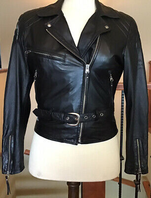 HARLEY DAVIDSON Women's Size MEDIUM Black Leather Jacket in VG Condition!
