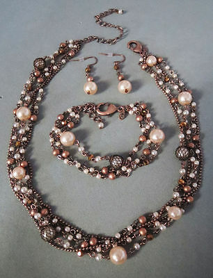 3M Premier Designs Santa Rosa Pearl Necklace + Bracelet + Earrings RV$104