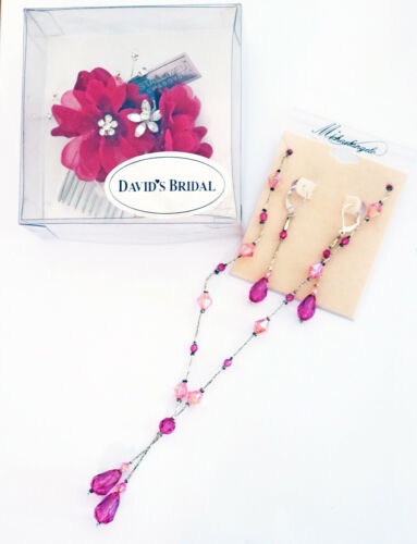 New Davids Bridal Accessories~ Comb, Necklace, Earrings