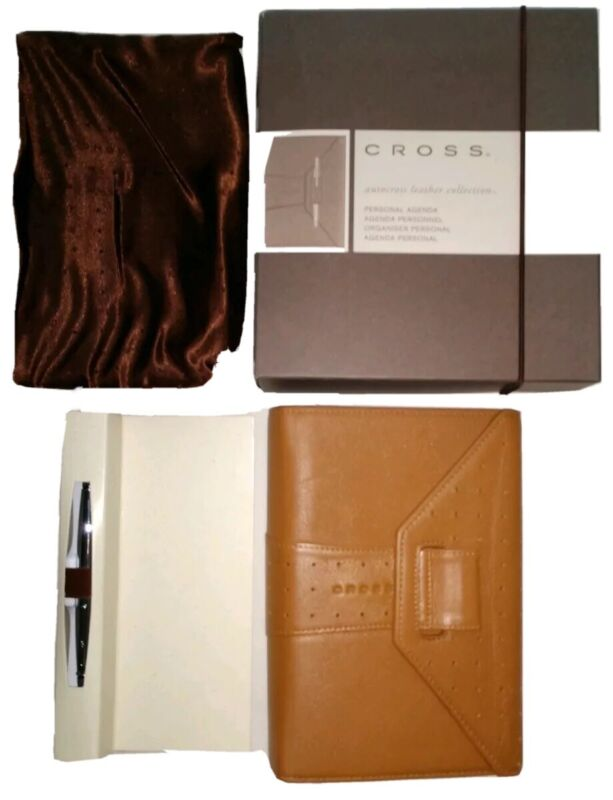 NEW! Cross Autocross Toffee Leather Personal Agenda & Chrome Pen Boxed Set AC134