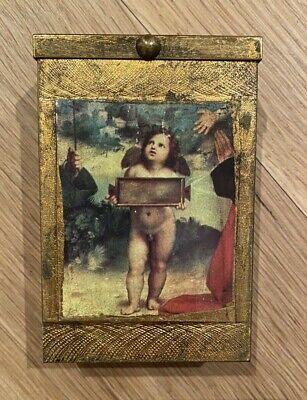 Vintage Cigarette Case Angel Retro Excellent Working Condition Gold-color