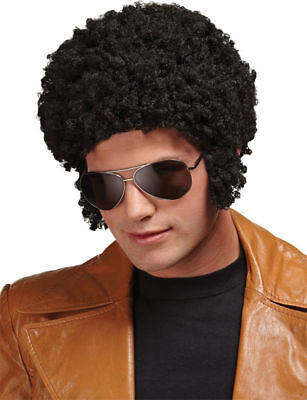 Morris Costumes Men's 1970s Welcome Back Afro Polyblend Black Wig. - 1970s Wig
