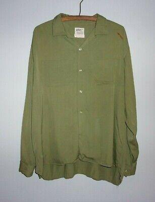 1940s Men's Shirts, Sweaters, Vests Vintage 1940s 50s Rayon Gabardine Wings GLADGAB Olive Green Button Down L XL $40.00 AT vintagedancer.com