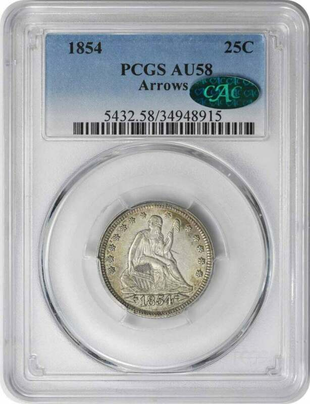 1854 Liberty Seated Silver Quarter Arrows AU58 PCGS (CAC)