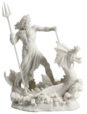 CHRISTMAS GIFT Poseidon Standing On Hippocampus w/ Trident White Finish Statue