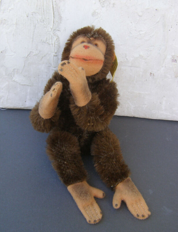Vintage Steiff Chimpanzee Chimp Stuffed Animal 5315 Wool Cotton