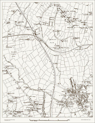 Mill Hill, Hendon Old Map 1888 - Gtr London #1 Repro.