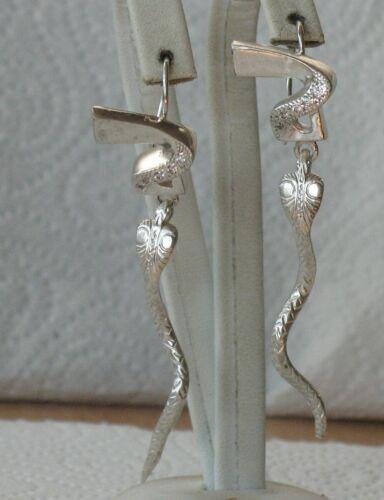 Russian Sterling 925 Silver Ag Earrings Vintage Big Long Snake Cobra Serpent Rar